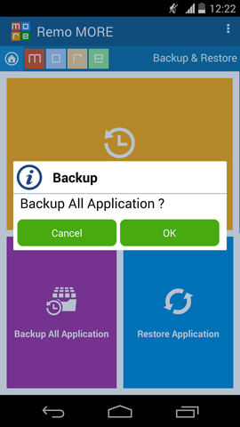 Backup Android Apps - Backup All Applications Confirmation