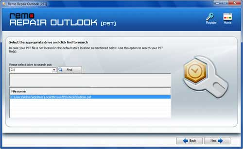 Restore and Find Deleted Email in Outlook 2007 - Find PST Screen