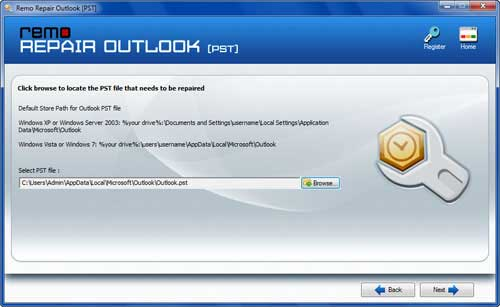 Repair Outlook 2007 archive file- Open PST Screen